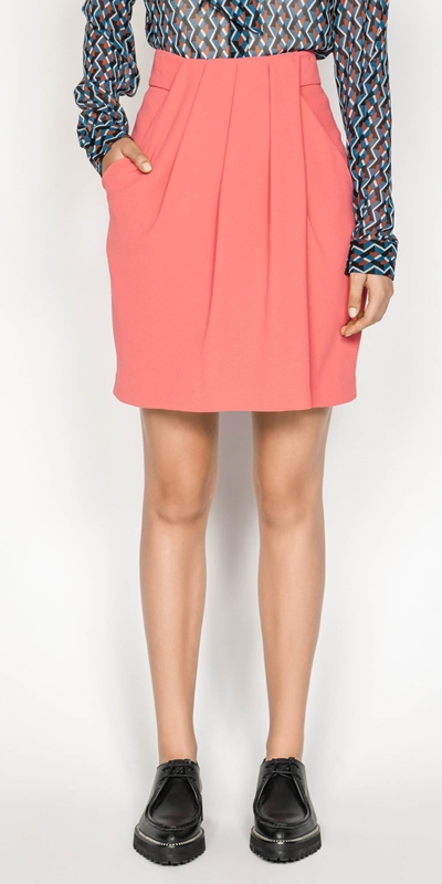 Skirts  | Crepe Tucked Waist Mini