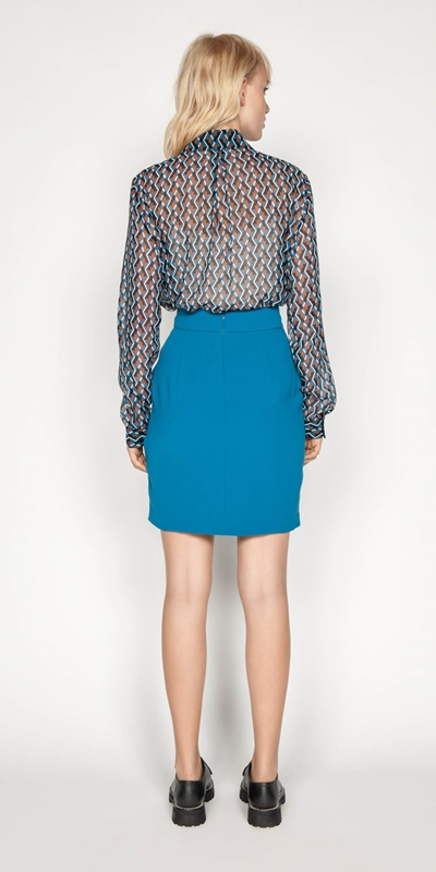 Skirts | Crepe Tucked Waist Mini