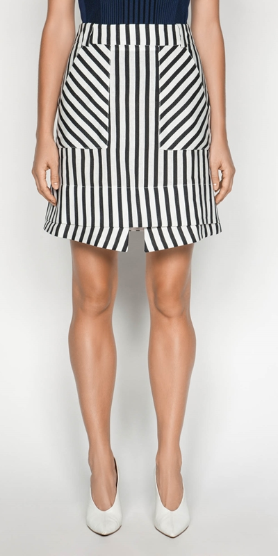 Skirts  | Linen Stripe Layered Mini