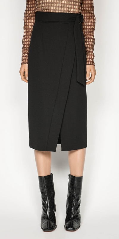 Skirts  | Belted Wrap Midi Skirt