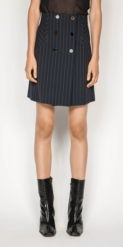 Work From Home  | Camel Pinstripe Mini Skirt