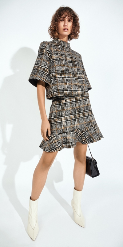 Work From Home  | Wool Check Fluted Hem Skirt