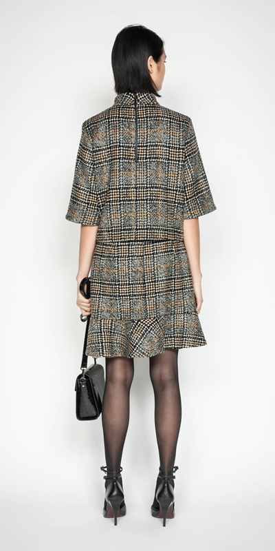 Skirts | Wool Check Fluted Hem Skirt