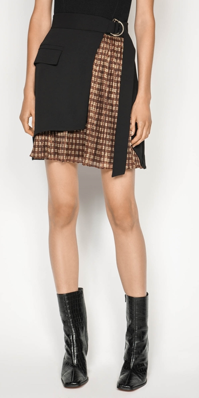 Skirts  | Metallic Check Wrap Skirt