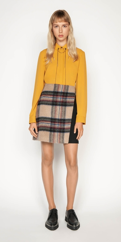 Sale | Plaid Wool Mini Skirt
