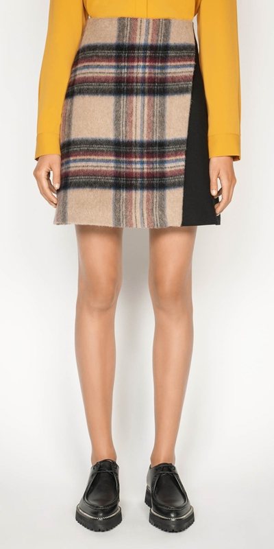 Work From Home  | Plaid Wool Mini Skirt