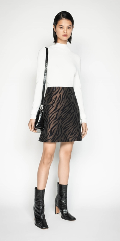 Skirts | Zebra Jacquard Mini Skirt