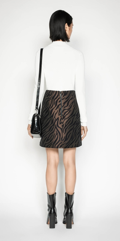 Skirts | Zebra Jacquard Mini Skirt