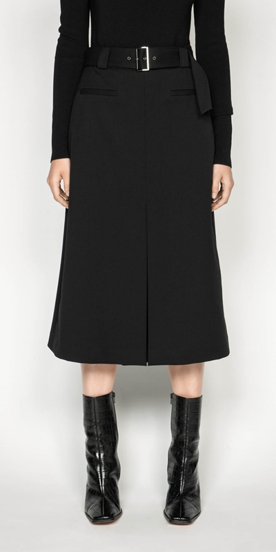 Skirts  | Belted Twill Midi Skirt
