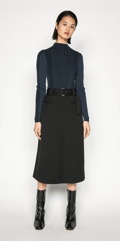 Wear to Work | Belted Twill Midi Skirt
