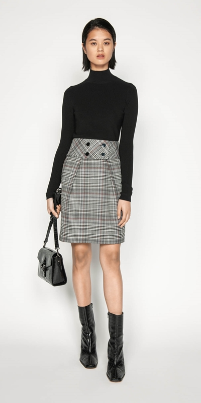 Wear to Work | Wool Blend Check Tulip Skirt