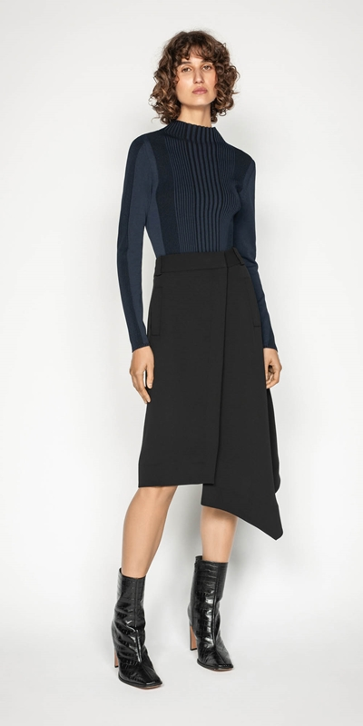 Skirts | Crepe Asymmetric Hem Skirt
