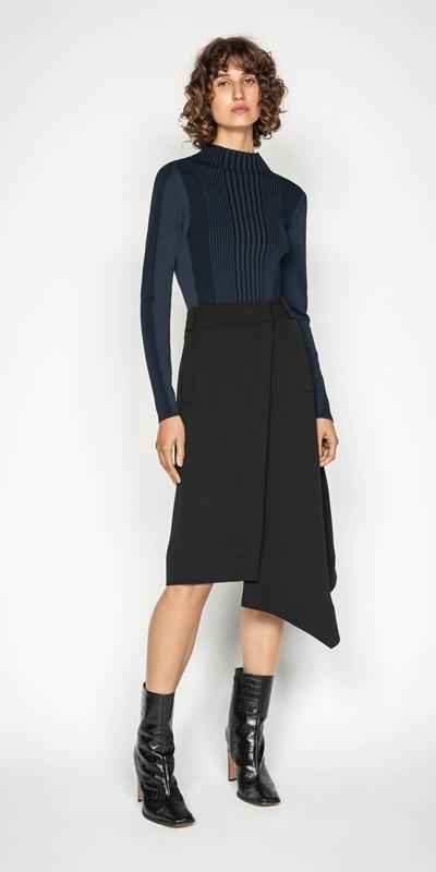 Skirts | Crepe Asymmetric Hem Skirt