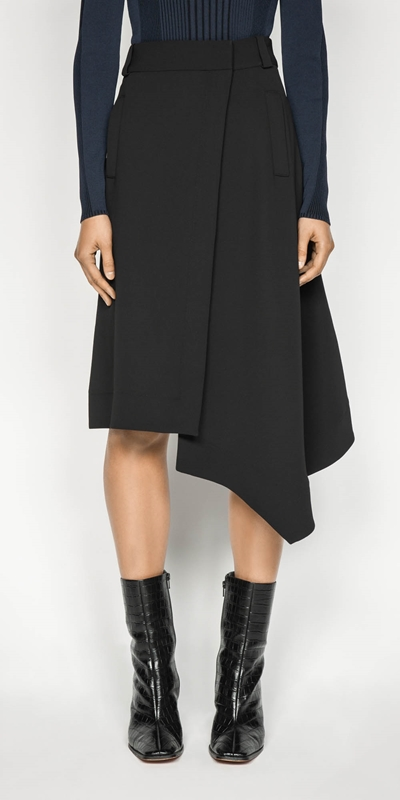 Wear to Work  | Crepe Asymmetric Hem Skirt