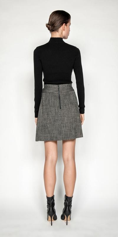 Skirts | Melange Tweed Paperbag Waist Skirt
