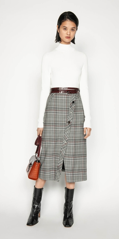Wear to Work | Wool Blend Check Asymmetric Skirt