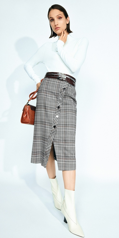 Skirts | Wool Blend Check Asymmetric Skirt