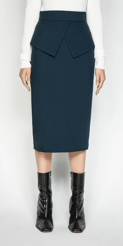 Made in Australia  | Belted Peplum Pencil Skirt