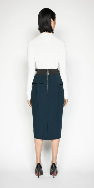 Skirts | Belted Peplum Pencil Skirt