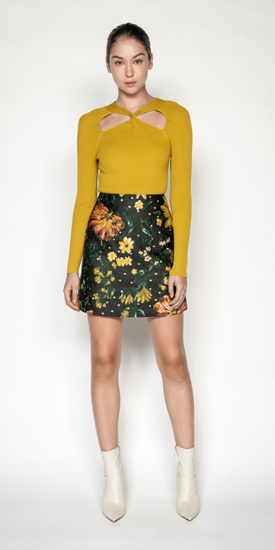 Skirts | Floral Jacquard Mini Skirt
