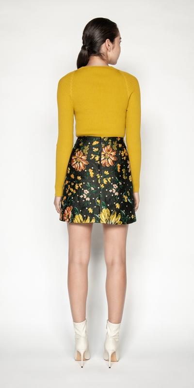Skirts | Floral Jacquard Mini Skirt