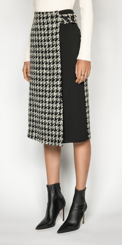 Sale  | Boucle Houndstooth Wrap Skirt