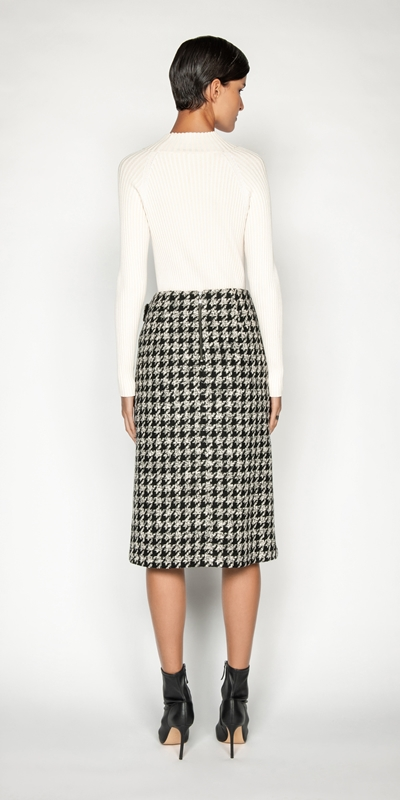 Skirts | Boucle Houndstooth Wrap Skirt
