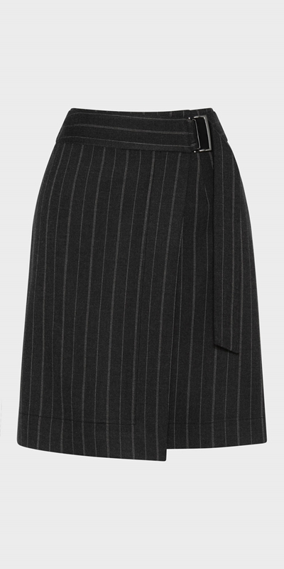 Cue Pinstripe Wrap Front Skirt | Stay at Home Mum