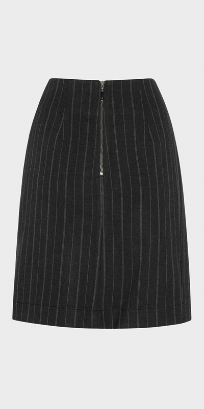 Work From Home  | Pinstripe Wrap Front Skirt