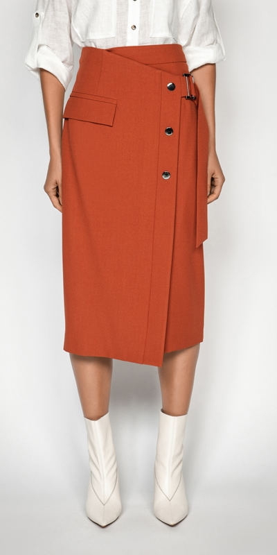 Skirts | Crepe Snap Front Skirt