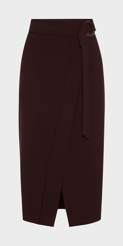 Work From Home | Belted Midi Wrap Skirt