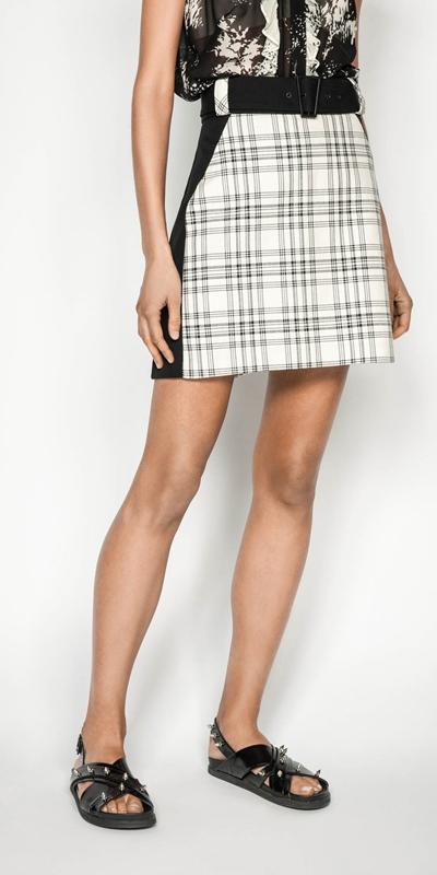 Skirts   Sand Check Mini Skirt