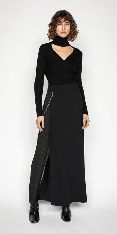 Wear to Work | Pleated Column Maxi Skirt
