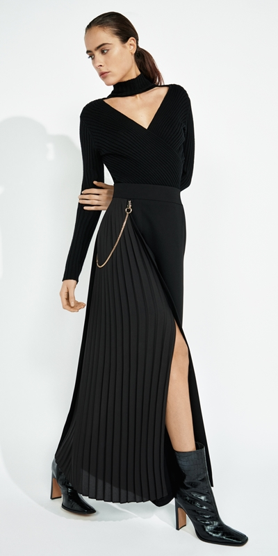 Skirts | Pleated Column Maxi Skirt