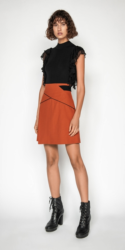Skirts | Crepe Asymmetric Mini