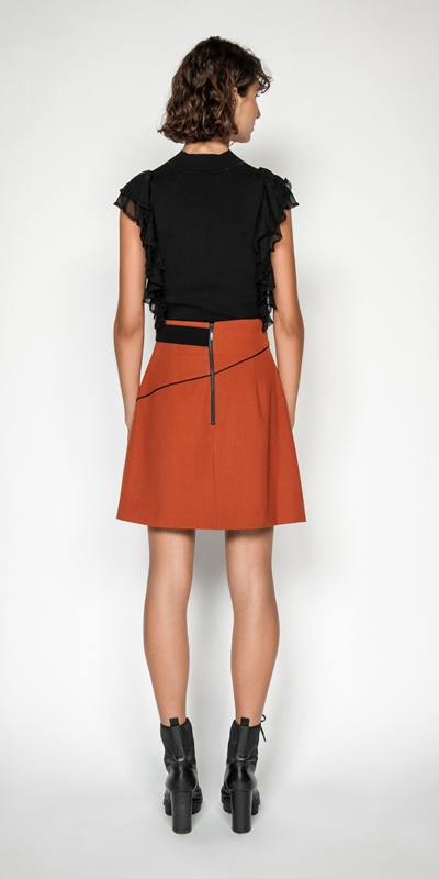 Skirts   Crepe Asymmetric Mini