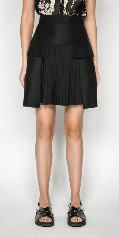 Wear to Work  | Pleated Linen Blend Mini Skirt
