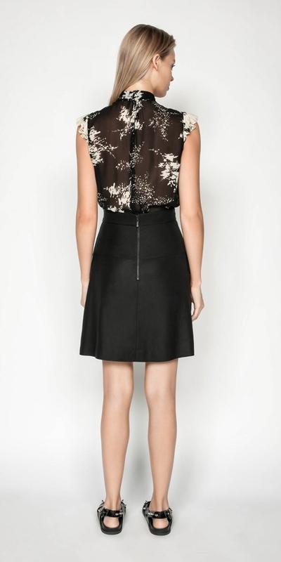 Skirts | Pleated Linen Blend Mini Skirt