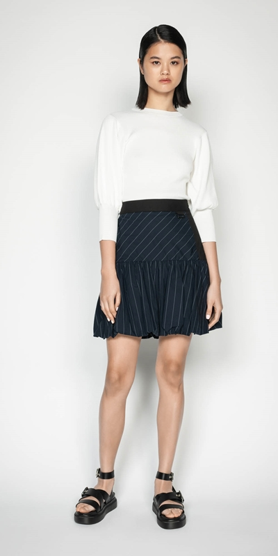 Wear to Work | Pinstripe Bubble Skirt