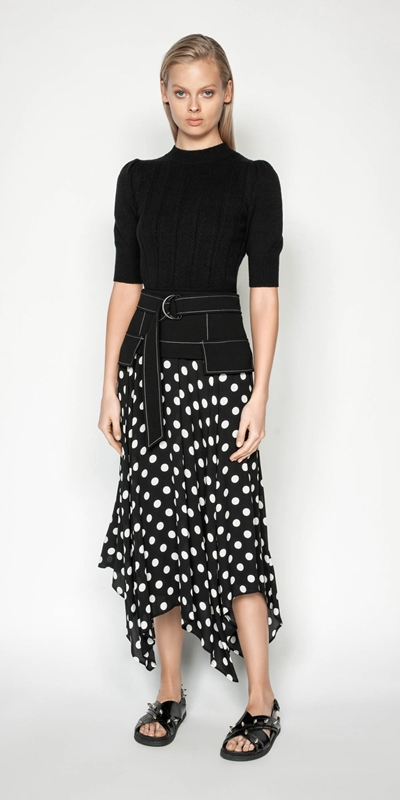Sale | Spot Viscose Georgette Midi Skirt