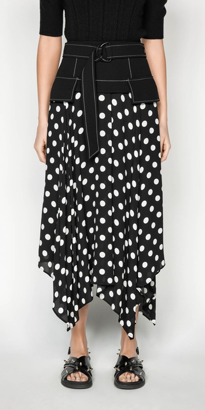 Skirts | Spot Viscose Georgette Midi Skirt