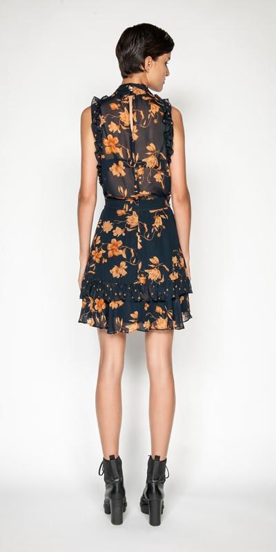 Skirts | Golden Floral Frilled Mini Skirt