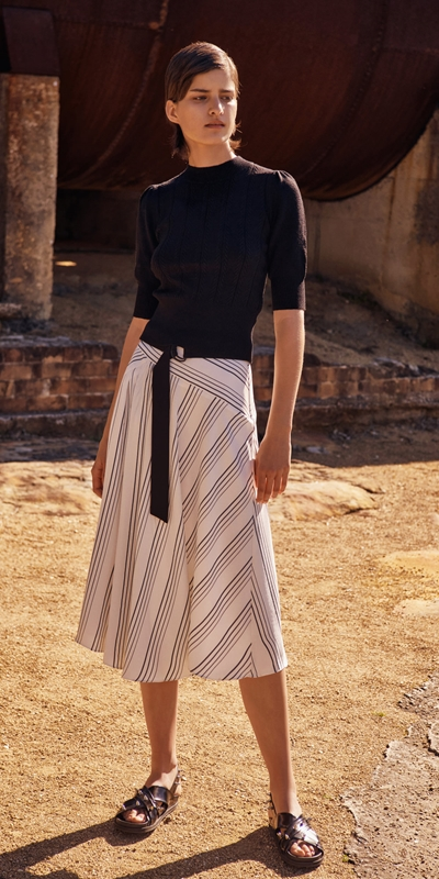 Wear to Work  | Quattro Stripe Midi Skirt