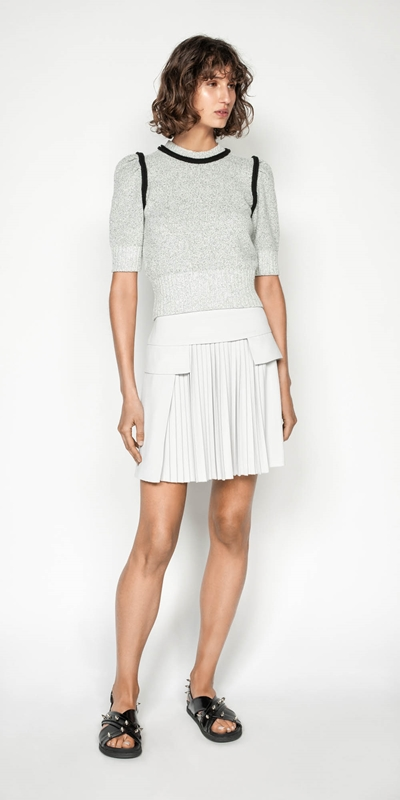 Wear to Work | Silver Pleat Front Mini