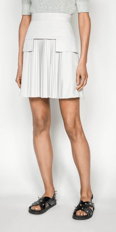 Skirts | Silver Pleat Front Mini