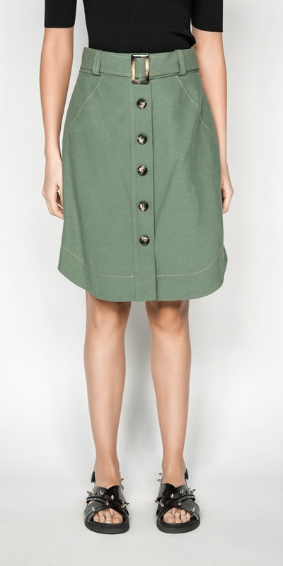 Skirts | Tencel Cotton Button Front Skirt