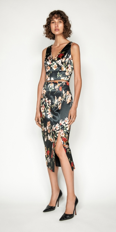 Made in Australia | Floral Satin Midi Skirt