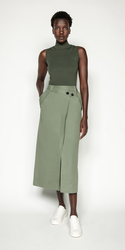 Made in Australia | Cotton Linen Twill Midi Skirt