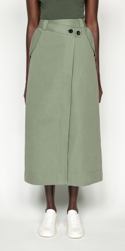 Skirts | Cotton Linen Twill Midi Skirt