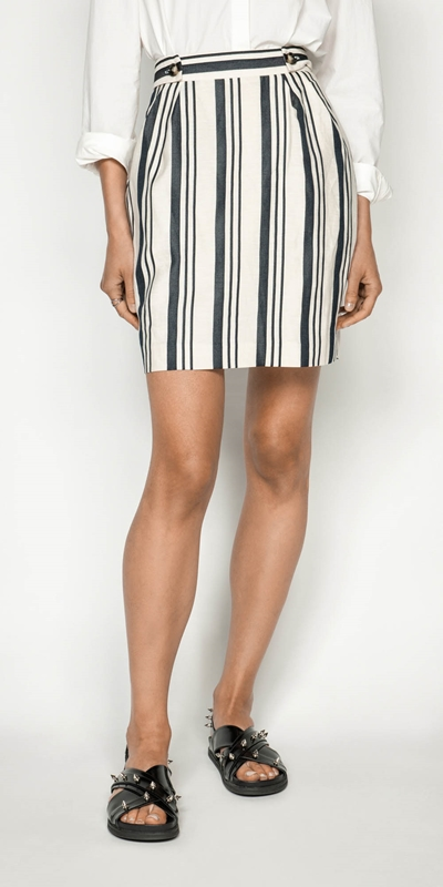Skirts | Striped Linen Skirt